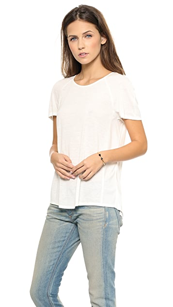 Rebecca Taylor Jersey Chiffon Pleat Back Top