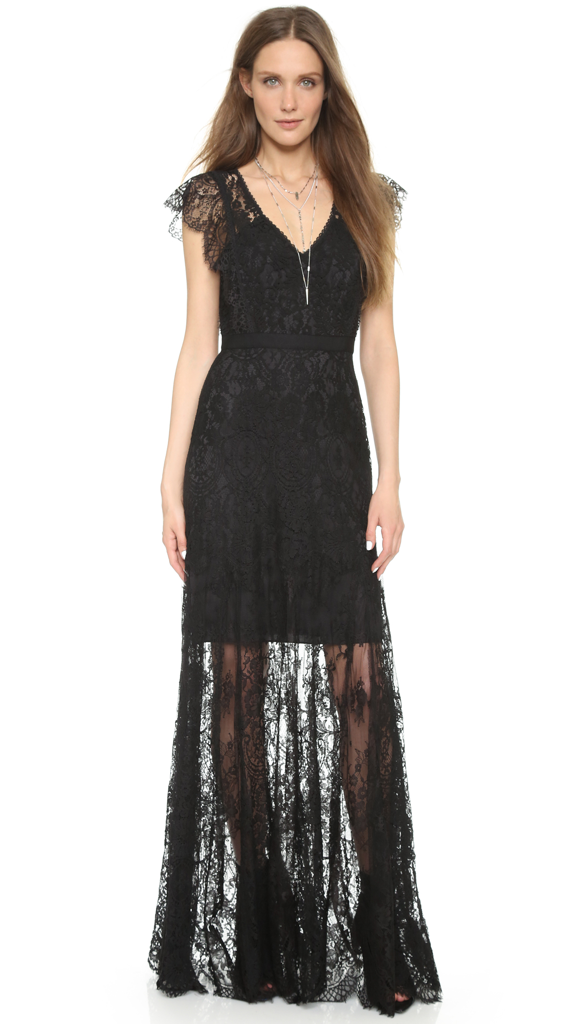 Rebecca Taylor Cap Sleeve Lace Gown | SHOPBOP SAVE UP TO 25% Use ...