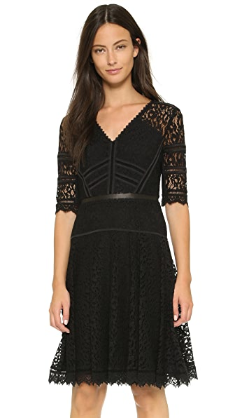 Rebecca Taylor Short Sleeve Lace Dress - Black