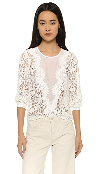 Rebecca Taylor Scallop Lace Long Sleeve Top - Snow