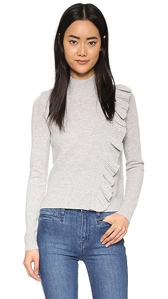 Rebecca Taylor Diagonal Ruffle Sweater - Grey