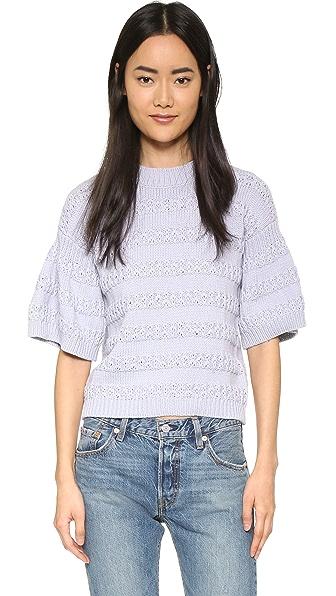 Rebecca Taylor Random Stitch Short Sleeve Sweater - Cold Air