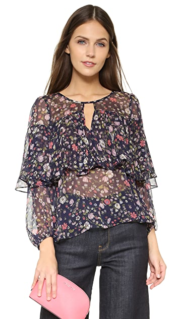 Rebecca Taylor Long Sleeve Tapestry Chiffon Blouse