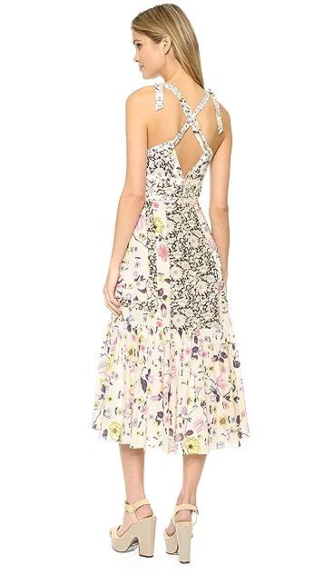 Rebecca Taylor Sleeveless Tapestry Grid Cami Dress