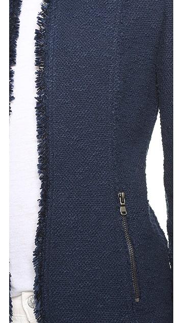 Rebecca Taylor Fringe Tweed Blazer
