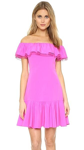 Rebecca Taylor Off Shoulder Silk Dress - Fuchsia at Shopbop