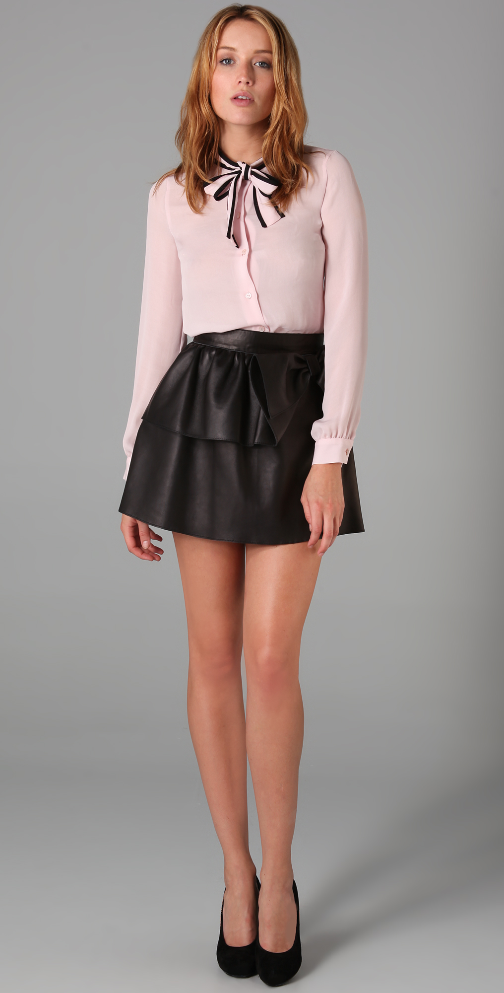 RED Valentino Short Leather Skirt with Bow - SHOPBOP