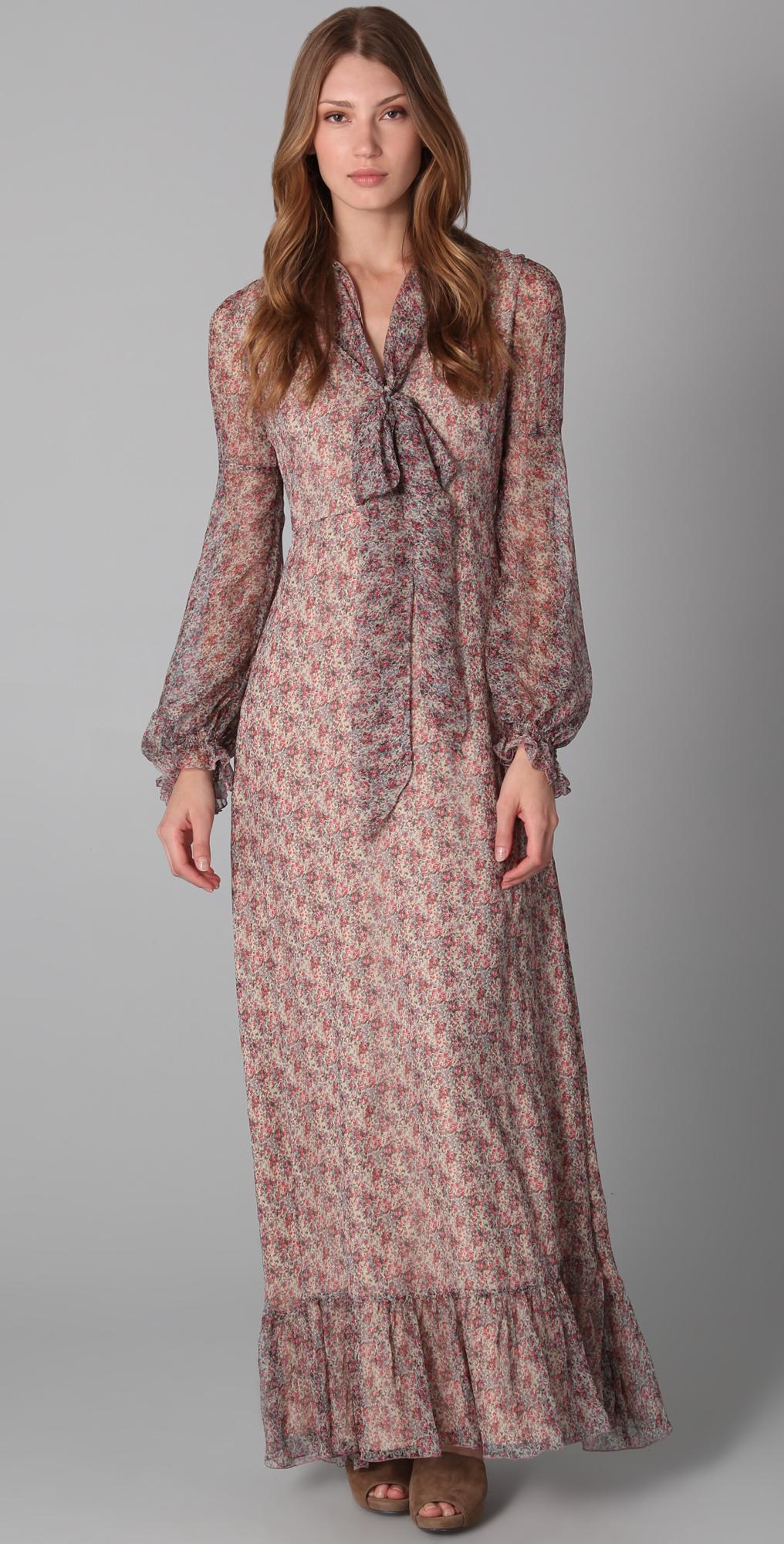 a6783bca6 Silk Floral Maxi Dress Long Sleeve | Saddha
