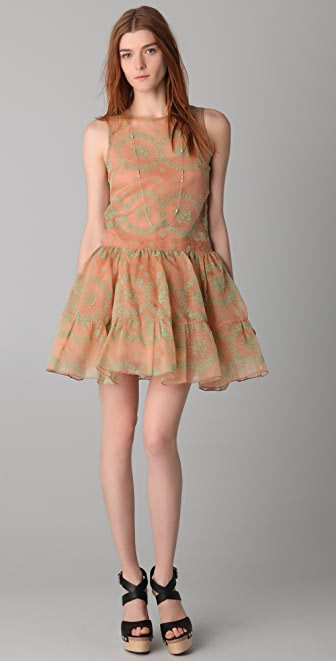 RED Valentino Flocked Rosette Sleeveless Dress