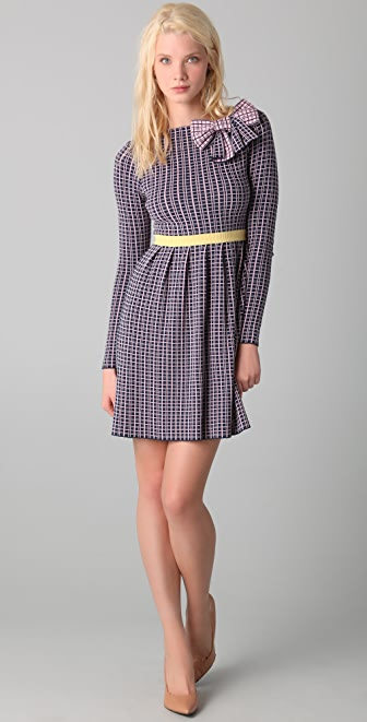 RED Valentino Long Sleeve Check Knit Dress