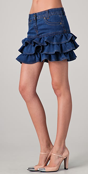 RED Valentino Tiered Denim Miniskirt