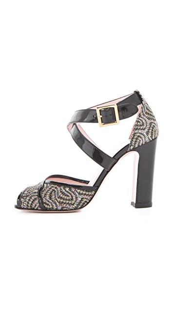 RED Valentino Glitter Crisscross Sandals