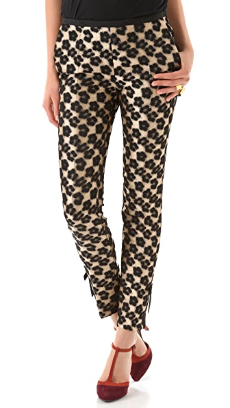 RED Valentino Leopard Flower Bow Pants