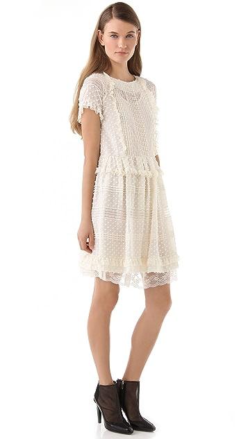 RED Valentino Short Sleeve Paneled Dress
