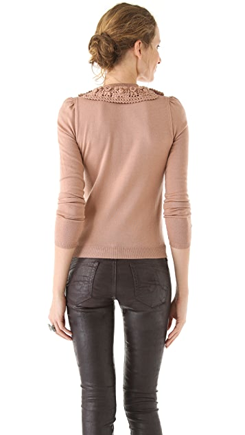 RED Valentino Long Sleeve Sweater with Macrame Collar