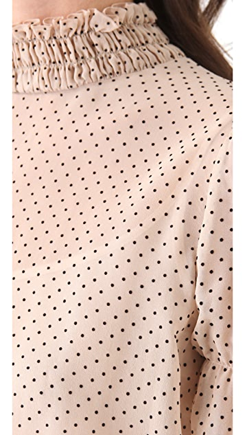 RED Valentino Polka Dot High Neck Blouse