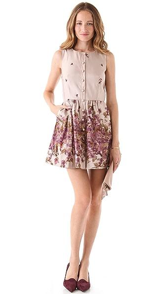 RED Valentino Flower Print Faille Dress