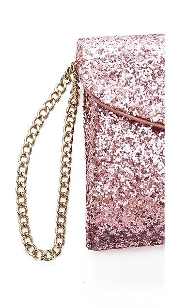 RED Valentino Glitter Wristlet Clutch