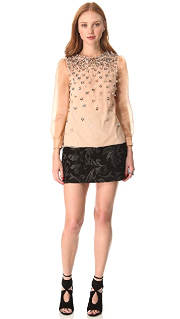 RED Valentino Embroidered Flower Blouse