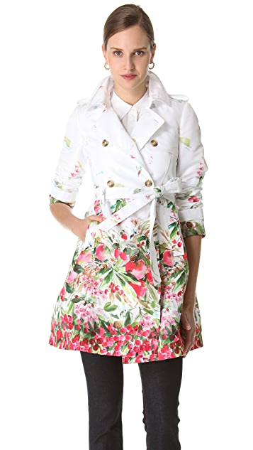 RED Valentino Strawberry Field Print Trench