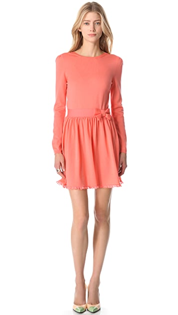 RED Valentino Long Sleeve Bow Belt Dress
