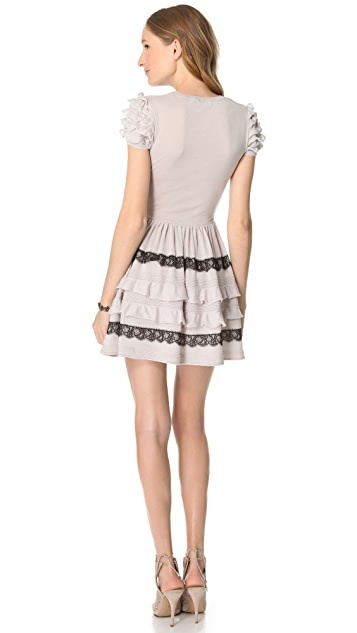 RED Valentino Ruffle Lace Cap Sleeve Dress