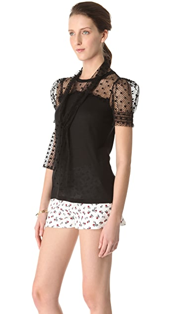 RED Valentino Tulle Tie Neck Tee