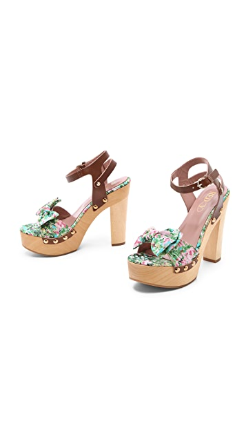RED Valentino Floral Wooden Heel Sandals