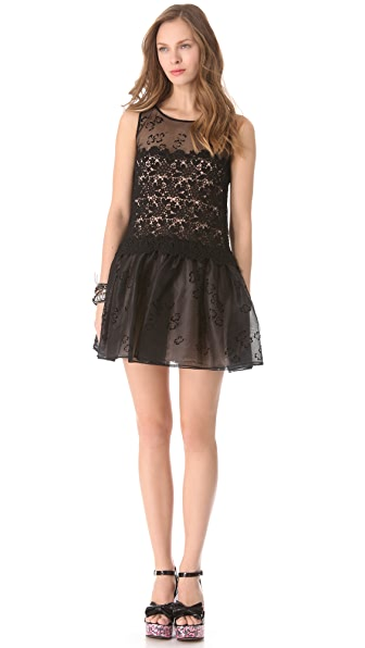 RED Valentino Four Leaf Clover Organza Dress