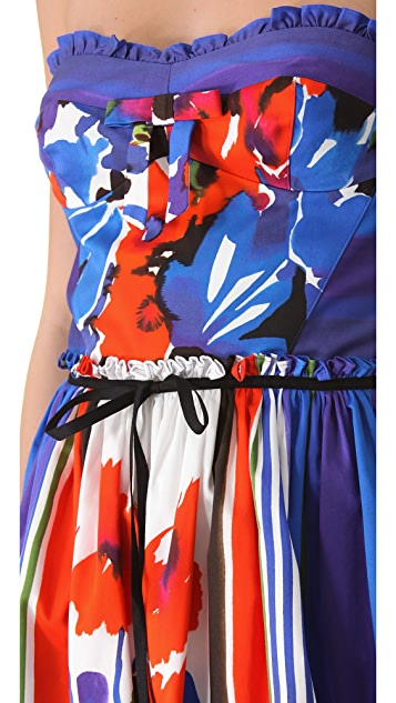 RED Valentino Flowers & Stripes Strapless Dress