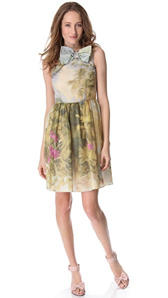 RED Valentino Tropical Landscape Organza Dress