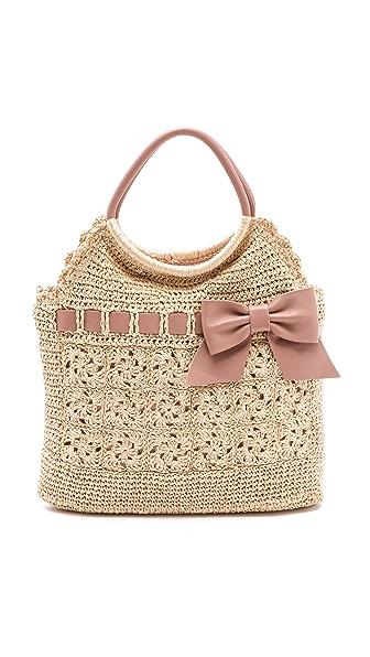 RED Valentino Crochet Raffia Top Handle Bag
