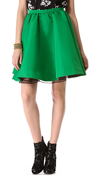 RED Valentino Faille Full Miniskirt
