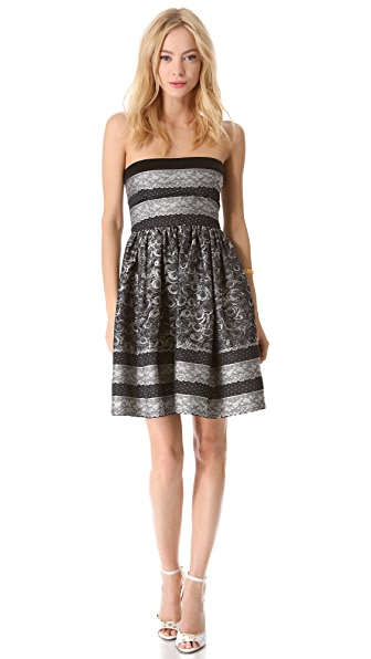 RED Valentino Lace Jacquard Taffeta Strapless Dress
