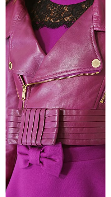RED Valentino Cropped Leather Moto Jacket