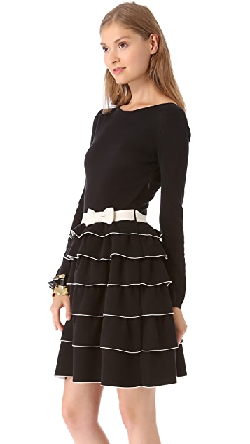 RED Valentino Ruffle Long Sleeve Dress