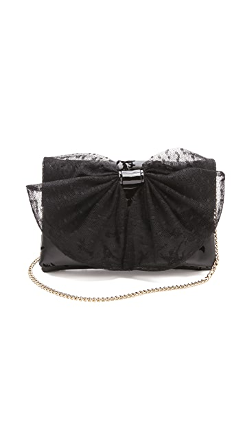 RED Valentino Flocked Leather Small Bow Bag