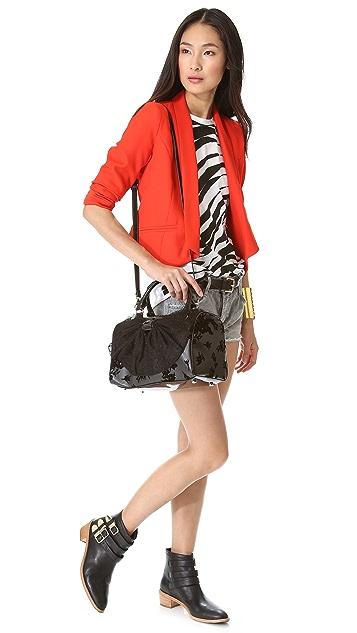 RED Valentino Floral Flocked Bowler Bag