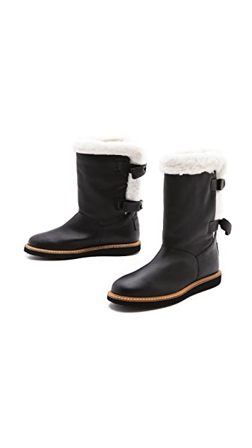 RED Valentino Shearling Trimmed Flat Boots