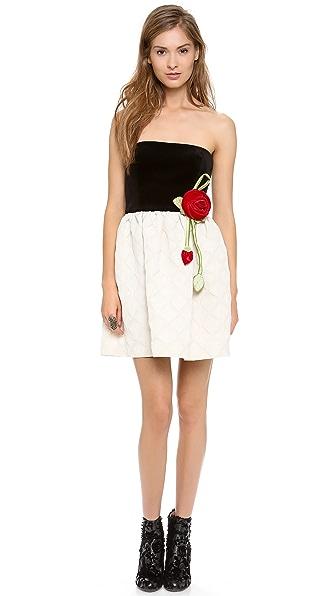 RED Valentino Strapless Rose Dress