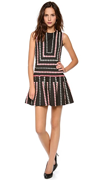 RED Valentino Embroidered Ribbon Sleeveless Dress