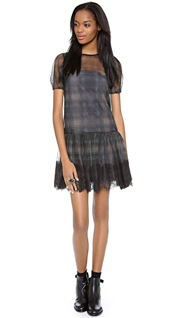 RED Valentino Printed Check Sheer Dress