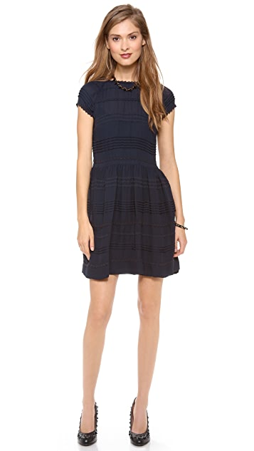 RED Valentino Embroidered Stripes Mini Dress