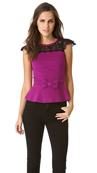 RED Valentino Peplum Top with Lace