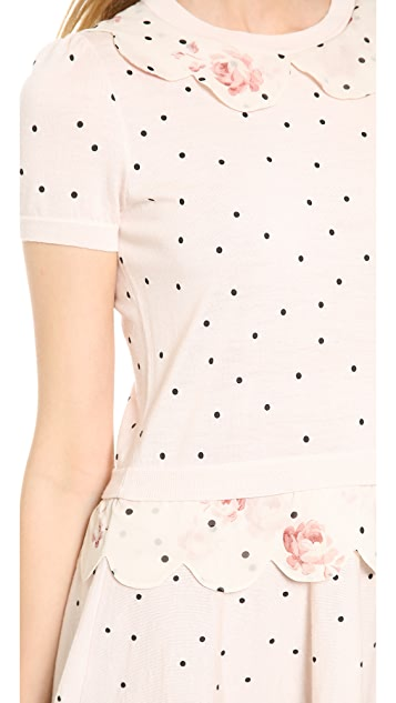RED Valentino Poka Dot Puff Sleeve Dress