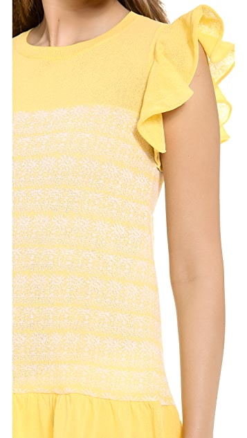 RED Valentino Ruffle Sleeve Tunic Top