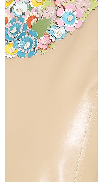 RED Valentino Flower Embellished Leather Dress
