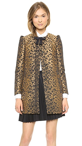 RED Valentino Jacquard Leopard Bow Coat