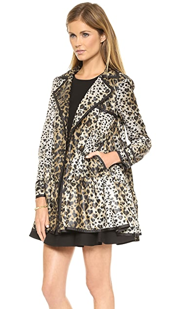 RED Valentino Leopard Print Tiered Coat