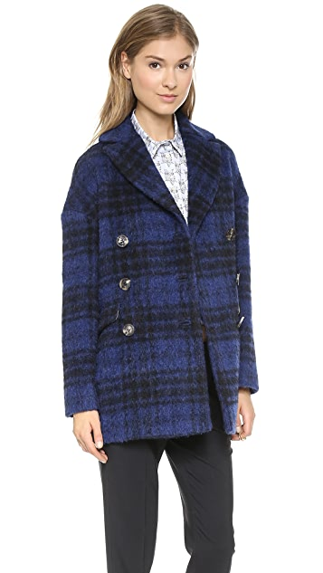 RED Valentino Faded Check Coat
